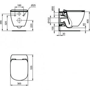 Geberit Pack WC Geberit duofix UP100 + Cuvette Ideal Standard Tesi Aquablade + Plaque de commande Delta50 blanche