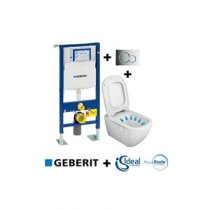Pack Geberit UP320 + Cuvette sans bride Tesi AquaBlade + Sigma CHR brillante